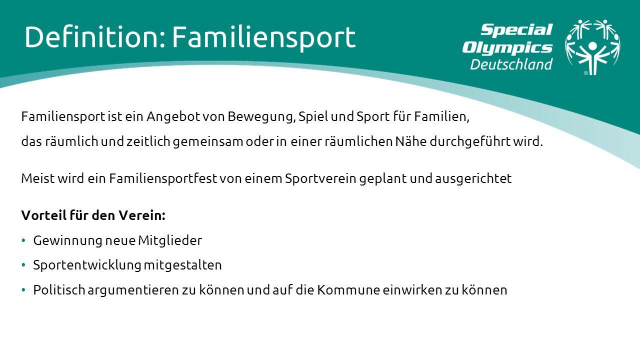 Definition: Familiensport Familiensport ist ein Angebot von Bewegung, Spiel und Sport für Familien, das räumlich und zeitlich gemeinsam oder in einer