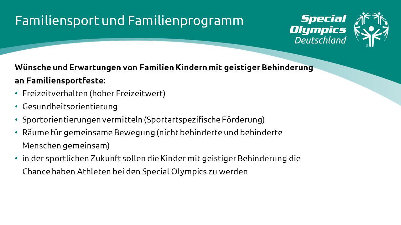 Familiensport und Familienprogramm Wünsche und Erwartungen von Familien Kindern mit geistiger Behinderung an Familiensportfeste: Freizeitverhalten (ho