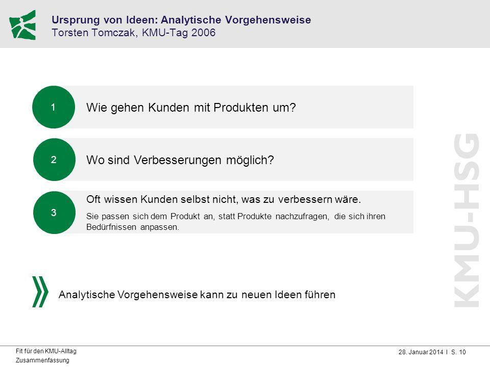 28. Januar 2014 I S. 10 Fit für den KMU-Alltag Zusammenfassung Ursprung von Ideen: Analytische Vorgehensweise Torsten Tomczak, KMU-Tag 2006 Wie gehen