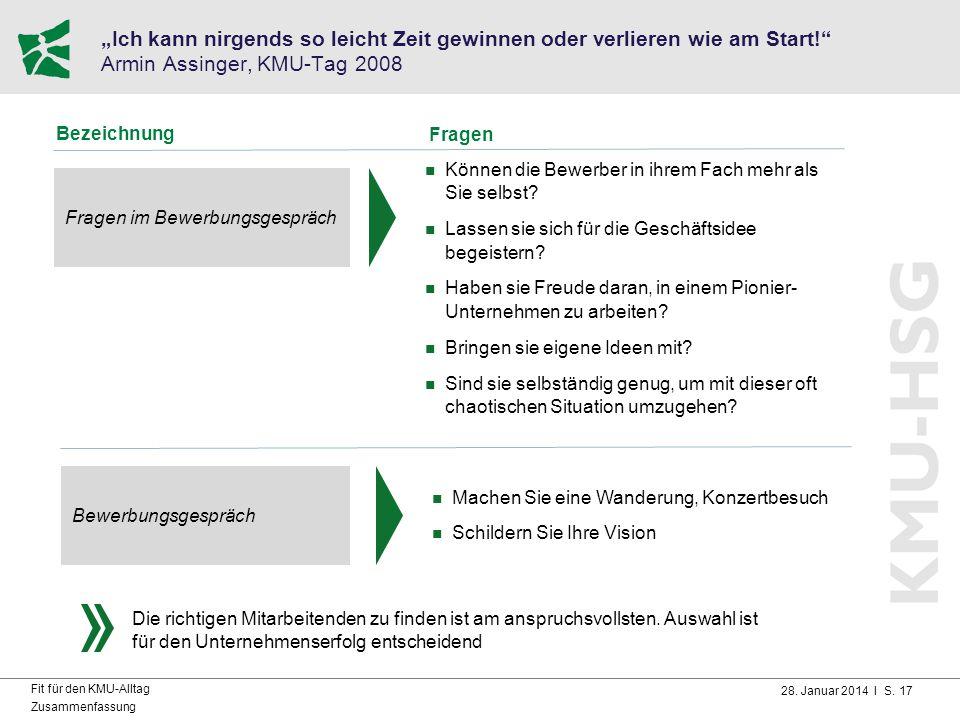 """28. Januar 2014 I S. 17 Fit für den KMU-Alltag Zusammenfassung """"Ich kann nirgends so leicht Zeit gewinnen oder verlieren wie am Start!"""" Armin Assinger"""