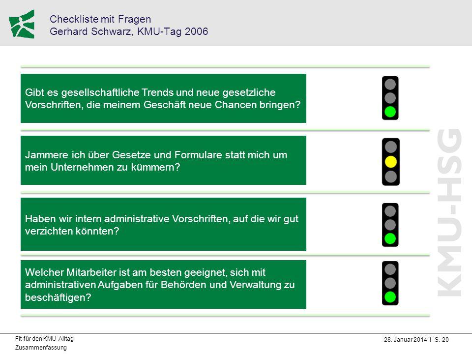 28. Januar 2014 I S. 20 Fit für den KMU-Alltag Zusammenfassung Checkliste mit Fragen Gerhard Schwarz, KMU-Tag 2006 Gibt es gesellschaftliche Trends un