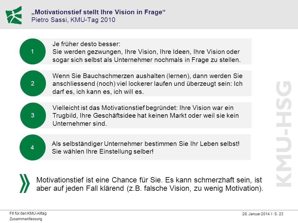 """28. Januar 2014 I S. 23 Fit für den KMU-Alltag Zusammenfassung """"Motivationstief stellt Ihre Vision in Frage"""" Pietro Sassi, KMU-Tag 2010 Je früher dest"""