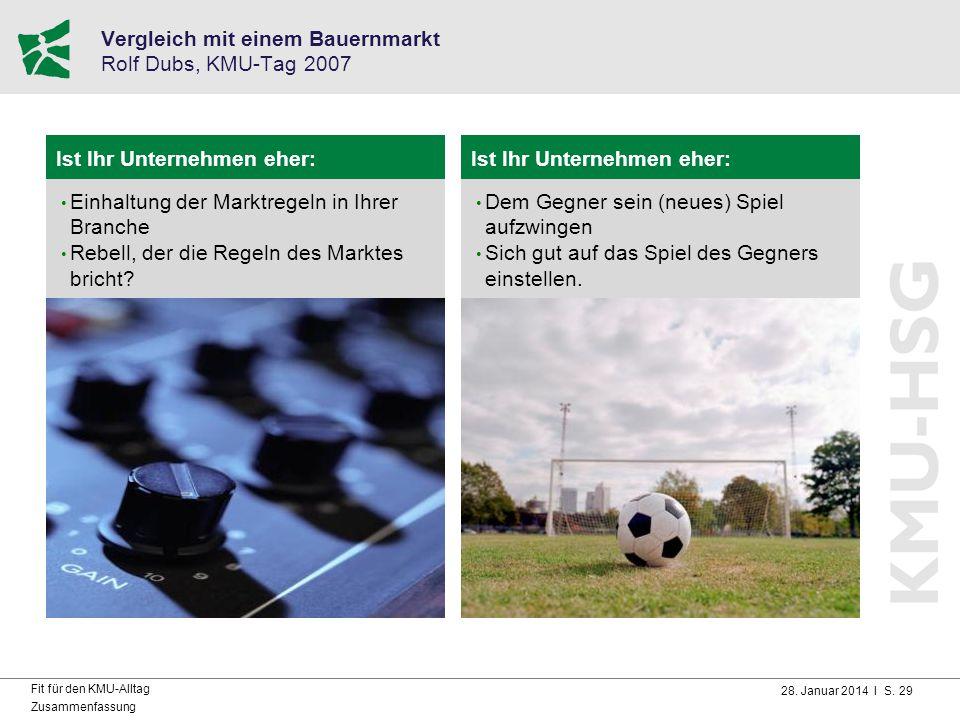 28. Januar 2014 I S. 29 Fit für den KMU-Alltag Zusammenfassung Vergleich mit einem Bauernmarkt Rolf Dubs, KMU-Tag 2007 Ist Ihr Unternehmen eher: Einha
