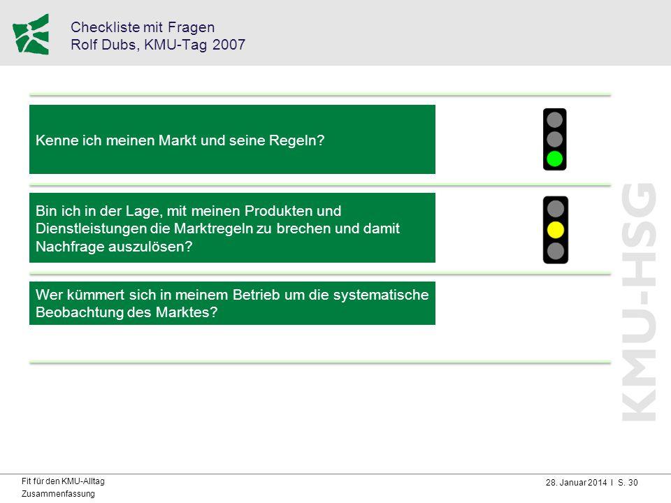 28. Januar 2014 I S. 30 Fit für den KMU-Alltag Zusammenfassung Checkliste mit Fragen Rolf Dubs, KMU-Tag 2007 Kenne ich meinen Markt und seine Regeln?
