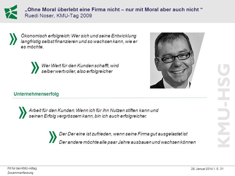 """28. Januar 2014 I S. 31 Fit für den KMU-Alltag Zusammenfassung """"Ohne Moral überlebt eine Firma nicht – nur mit Moral aber auch nicht """" Ruedi Noser, KM"""
