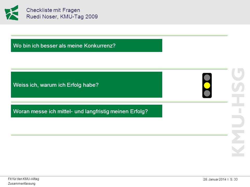 28. Januar 2014 I S. 33 Fit für den KMU-Alltag Zusammenfassung Checkliste mit Fragen Ruedi Noser, KMU-Tag 2009 Wo bin ich besser als meine Konkurrenz?