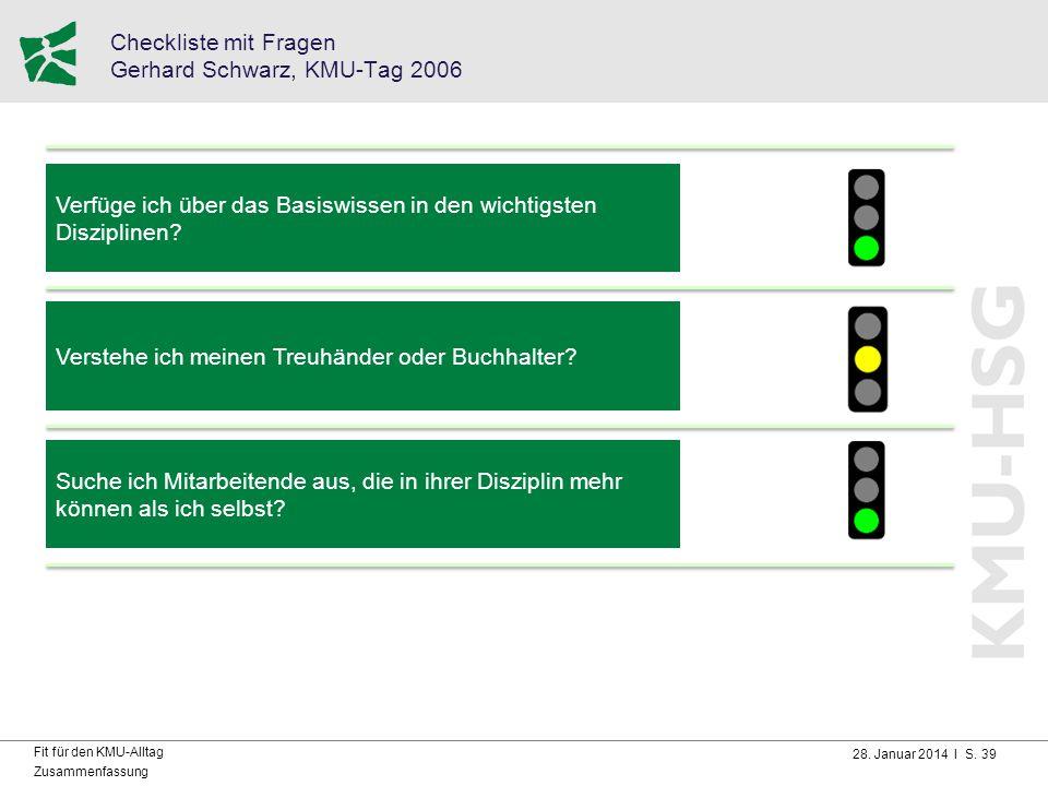 28. Januar 2014 I S. 39 Fit für den KMU-Alltag Zusammenfassung Checkliste mit Fragen Gerhard Schwarz, KMU-Tag 2006 Verfüge ich über das Basiswissen in