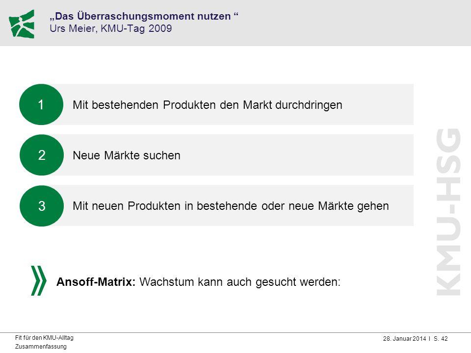 """28. Januar 2014 I S. 42 Fit für den KMU-Alltag Zusammenfassung """"Das Überraschungsmoment nutzen """" Urs Meier, KMU-Tag 2009 Mit bestehenden Produkten den"""