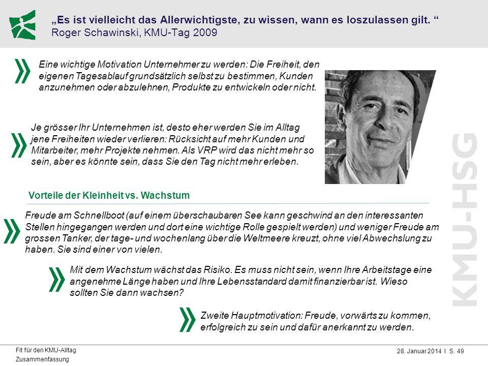 """28. Januar 2014 I S. 49 Fit für den KMU-Alltag Zusammenfassung """"Es ist vielleicht das Allerwichtigste, zu wissen, wann es loszulassen gilt. """" Roger Sc"""
