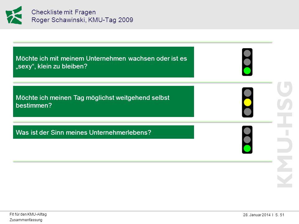 28. Januar 2014 I S. 51 Fit für den KMU-Alltag Zusammenfassung Checkliste mit Fragen Roger Schawinski, KMU-Tag 2009 Möchte ich mit meinem Unternehmen