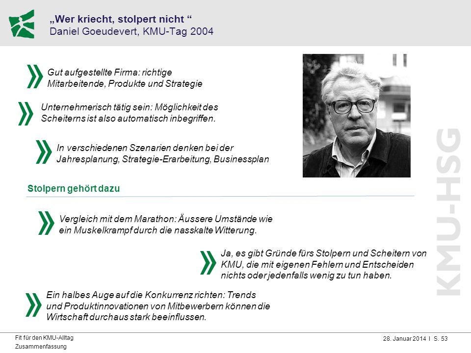 """28. Januar 2014 I S. 53 Fit für den KMU-Alltag Zusammenfassung """"Wer kriecht, stolpert nicht """" Daniel Goeudevert, KMU-Tag 2004 Vergleich mit dem Marath"""