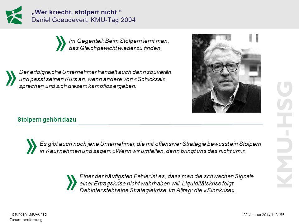 """28. Januar 2014 I S. 55 Fit für den KMU-Alltag Zusammenfassung """"Wer kriecht, stolpert nicht """" Daniel Goeudevert, KMU-Tag 2004 Stolpern gehört dazu Der"""