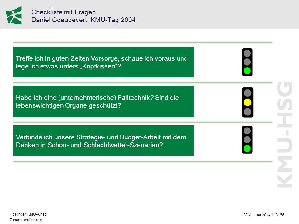 28. Januar 2014 I S. 56 Fit für den KMU-Alltag Zusammenfassung Checkliste mit Fragen Daniel Goeudevert, KMU-Tag 2004 Treffe ich in guten Zeiten Vorsor
