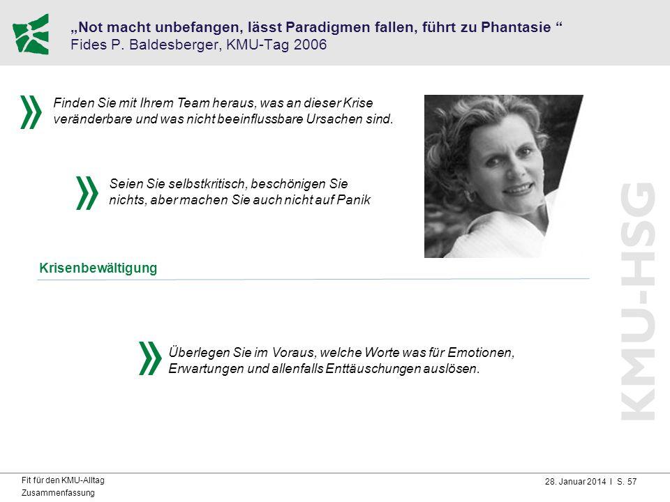 """28. Januar 2014 I S. 57 Fit für den KMU-Alltag Zusammenfassung """"Not macht unbefangen, lässt Paradigmen fallen, führt zu Phantasie """" Fides P. Baldesber"""