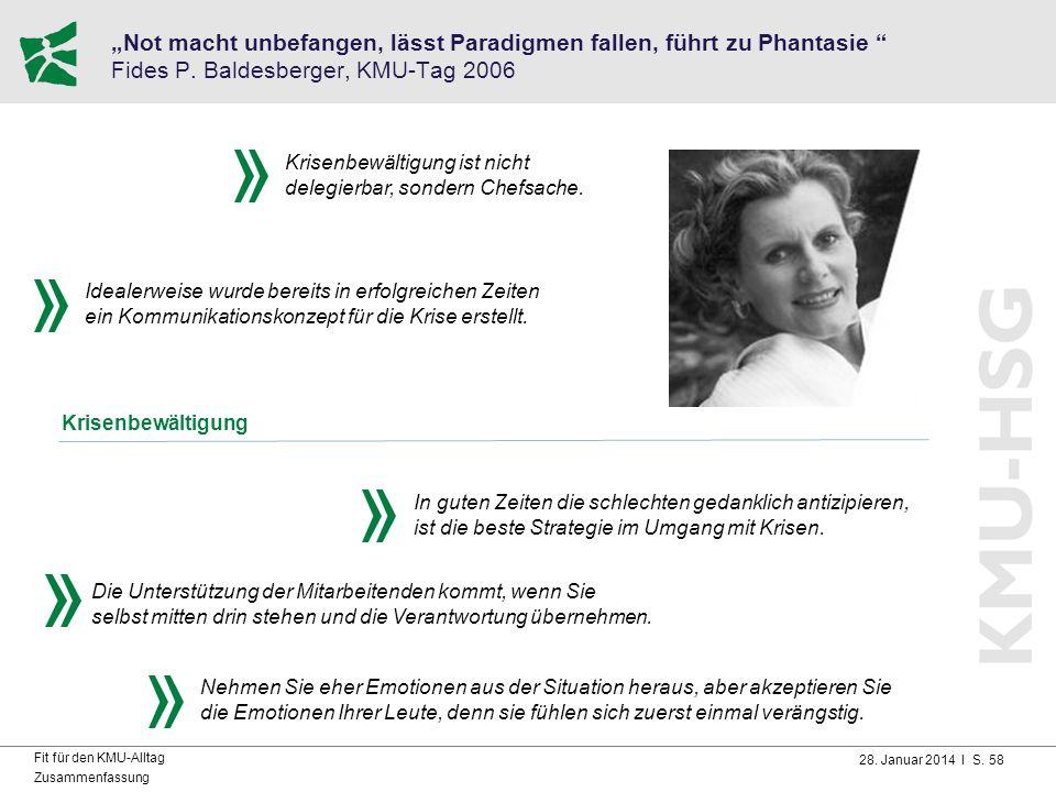 """28. Januar 2014 I S. 58 Fit für den KMU-Alltag Zusammenfassung """"Not macht unbefangen, lässt Paradigmen fallen, führt zu Phantasie """" Fides P. Baldesber"""