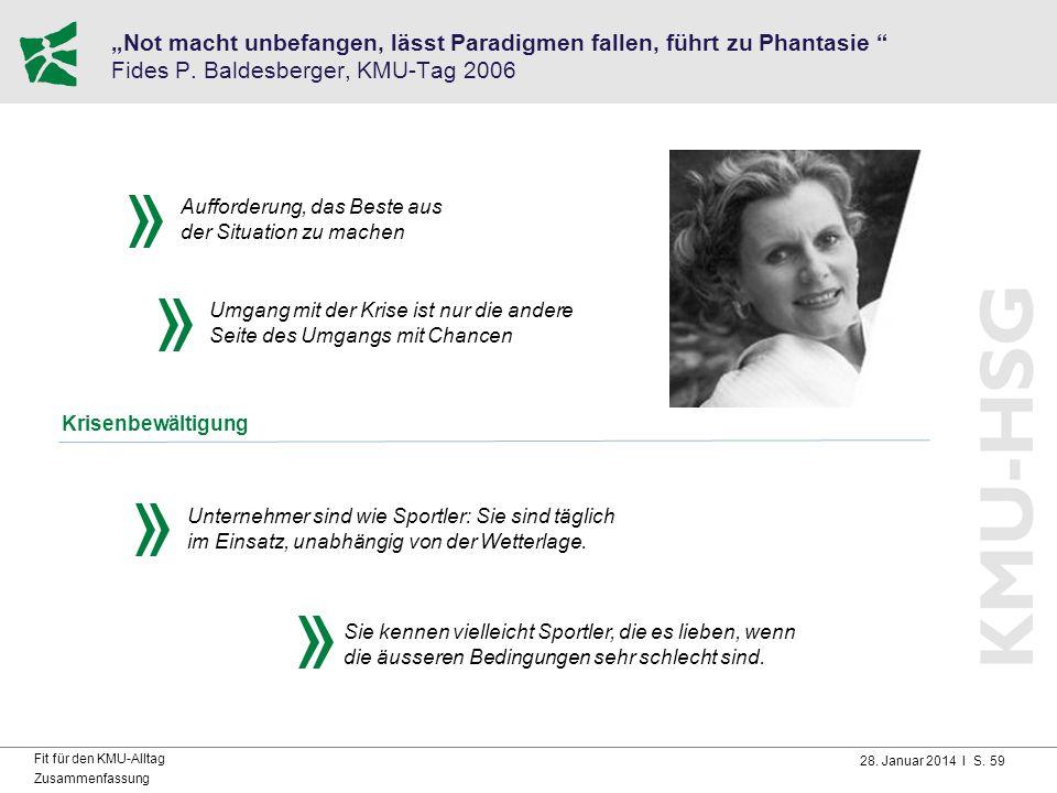 """28. Januar 2014 I S. 59 Fit für den KMU-Alltag Zusammenfassung """"Not macht unbefangen, lässt Paradigmen fallen, führt zu Phantasie """" Fides P. Baldesber"""