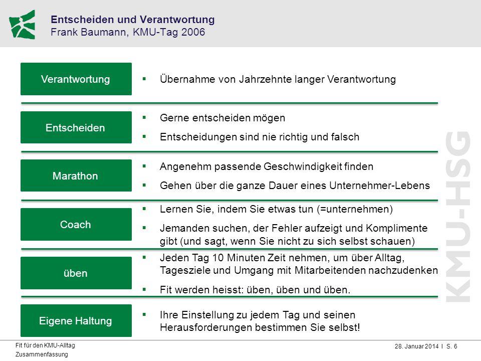 28. Januar 2014 I S. 6 Fit für den KMU-Alltag Zusammenfassung Entscheiden und Verantwortung Frank Baumann, KMU-Tag 2006 Verantwortung  Übernahme von
