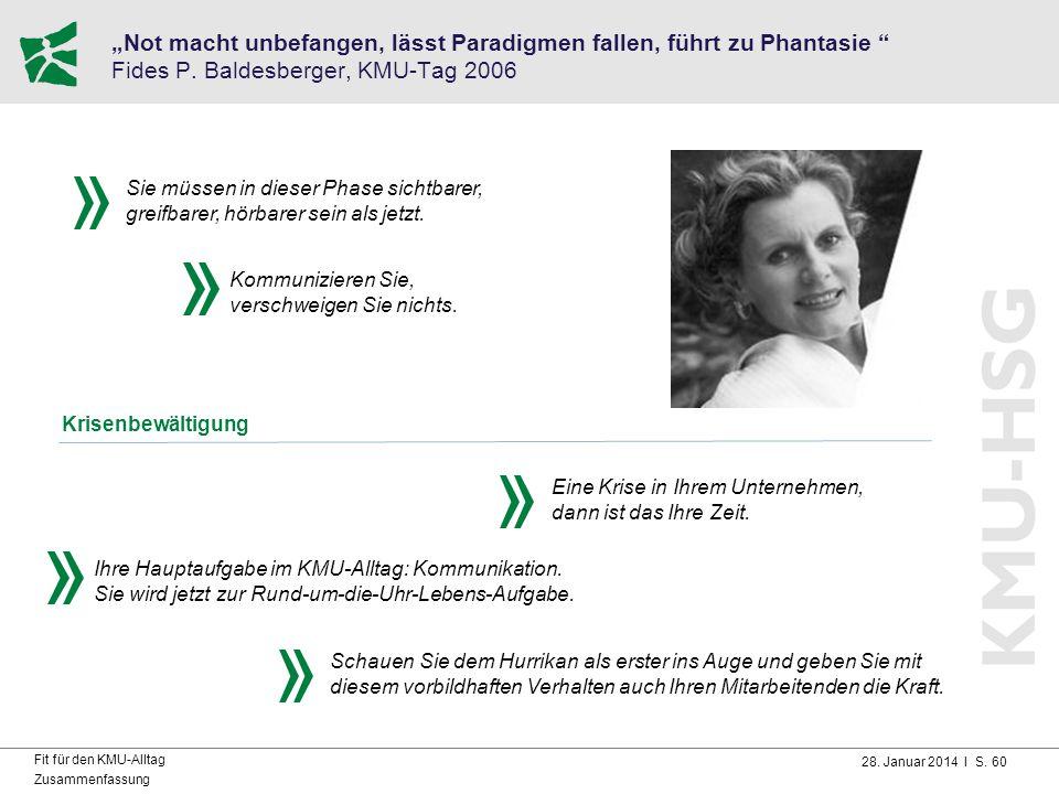"""28. Januar 2014 I S. 60 Fit für den KMU-Alltag Zusammenfassung """"Not macht unbefangen, lässt Paradigmen fallen, führt zu Phantasie """" Fides P. Baldesber"""