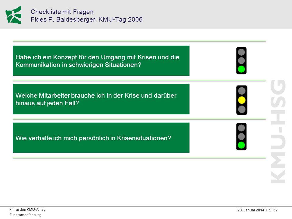 28. Januar 2014 I S. 62 Fit für den KMU-Alltag Zusammenfassung Checkliste mit Fragen Fides P. Baldesberger, KMU-Tag 2006 Habe ich ein Konzept für den
