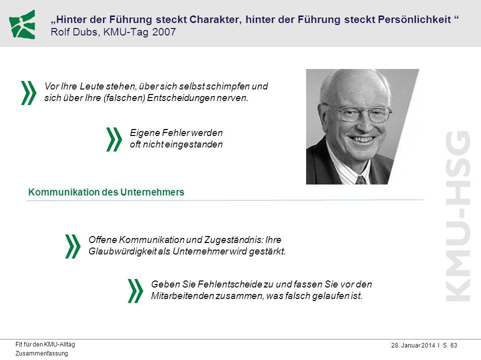 """28. Januar 2014 I S. 63 Fit für den KMU-Alltag Zusammenfassung """"Hinter der Führung steckt Charakter, hinter der Führung steckt Persönlichkeit """" Rolf D"""