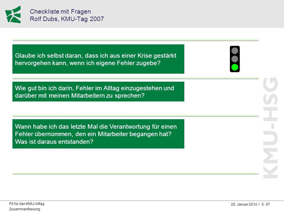28. Januar 2014 I S. 67 Fit für den KMU-Alltag Zusammenfassung Checkliste mit Fragen Rolf Dubs, KMU-Tag 2007 Glaube ich selbst daran, dass ich aus ein