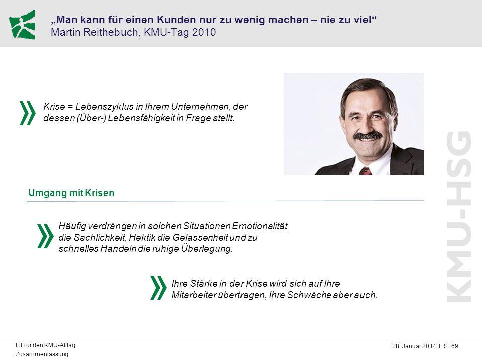 """28. Januar 2014 I S. 69 Fit für den KMU-Alltag Zusammenfassung """"Man kann für einen Kunden nur zu wenig machen – nie zu viel"""" Martin Reithebuch, KMU-Ta"""