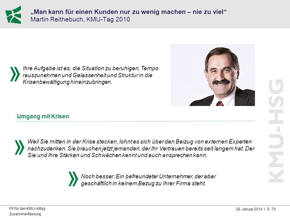 """28. Januar 2014 I S. 70 Fit für den KMU-Alltag Zusammenfassung """"Man kann für einen Kunden nur zu wenig machen – nie zu viel"""" Martin Reithebuch, KMU-Ta"""