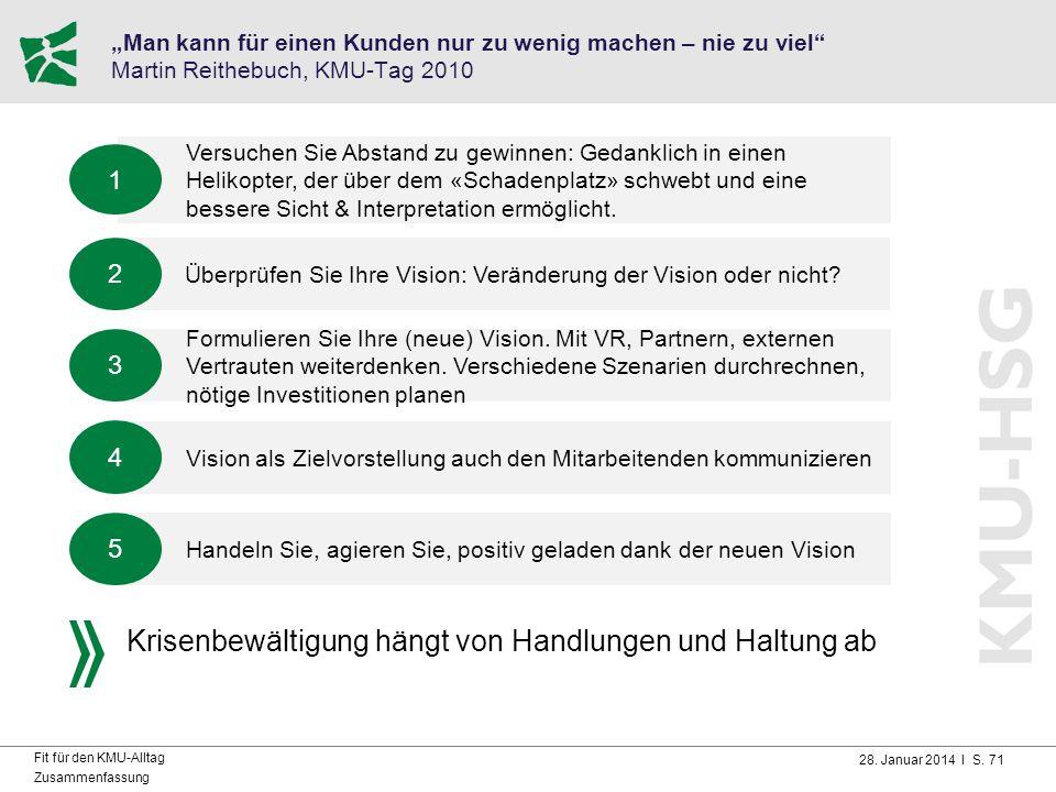 """28. Januar 2014 I S. 71 Fit für den KMU-Alltag Zusammenfassung """"Man kann für einen Kunden nur zu wenig machen – nie zu viel"""" Martin Reithebuch, KMU-Ta"""