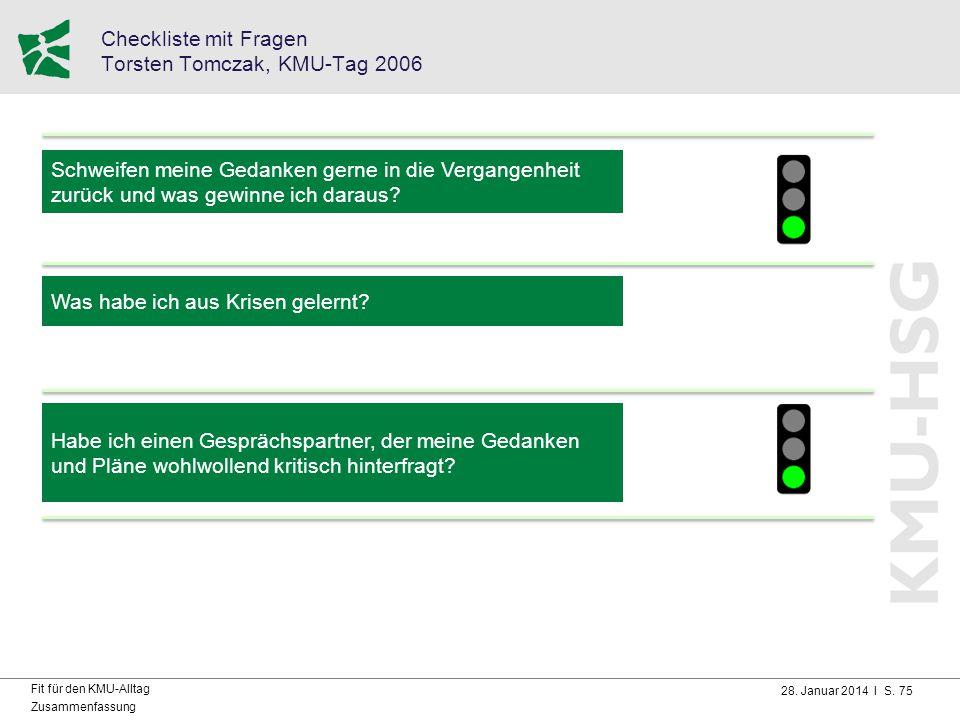 28. Januar 2014 I S. 75 Fit für den KMU-Alltag Zusammenfassung Checkliste mit Fragen Torsten Tomczak, KMU-Tag 2006 Schweifen meine Gedanken gerne in d