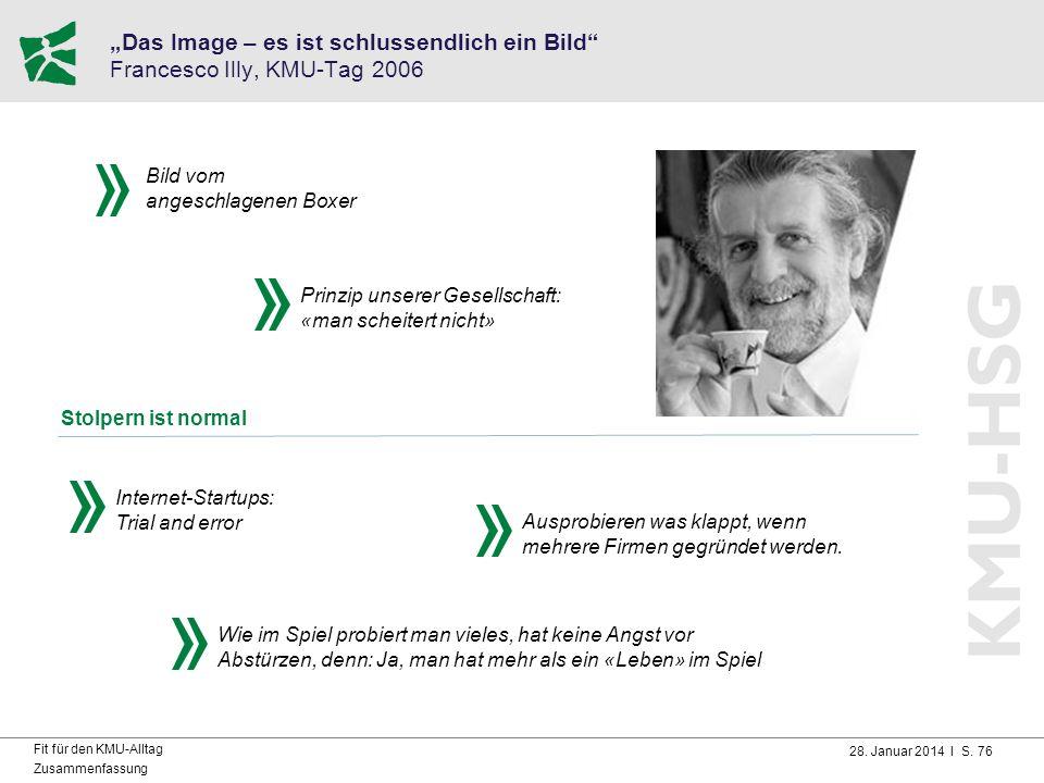 """28. Januar 2014 I S. 76 Fit für den KMU-Alltag Zusammenfassung """"Das Image – es ist schlussendlich ein Bild"""" Francesco Illy, KMU-Tag 2006 Prinzip unser"""