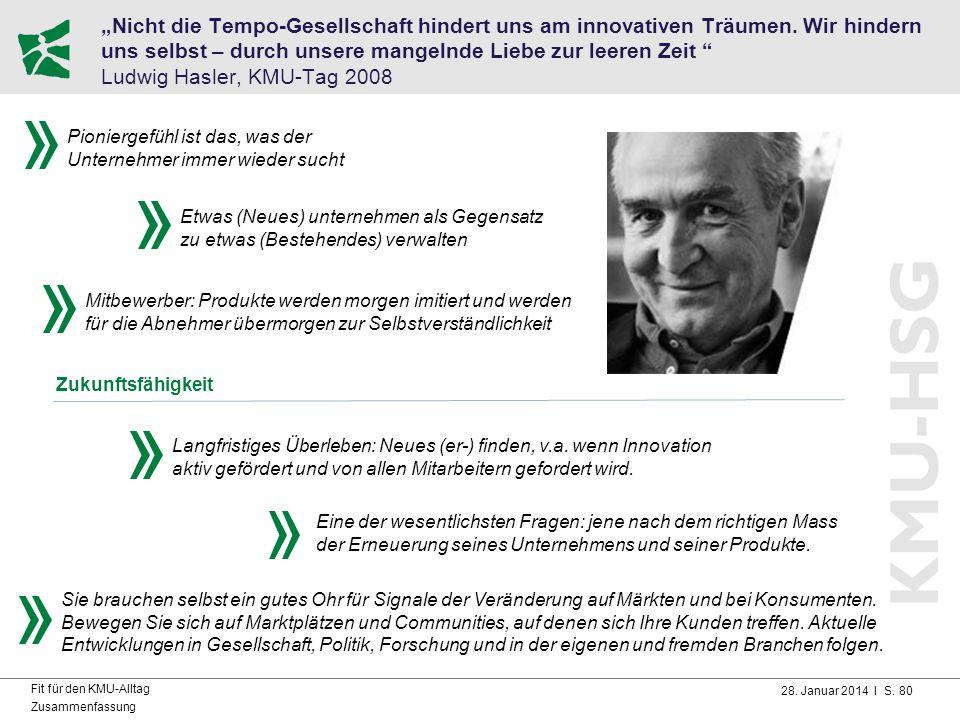 """28. Januar 2014 I S. 80 Fit für den KMU-Alltag Zusammenfassung """"Nicht die Tempo-Gesellschaft hindert uns am innovativen Träumen. Wir hindern uns selbs"""