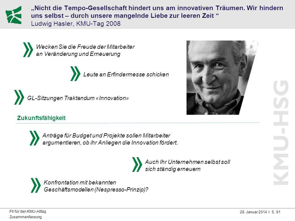 """28. Januar 2014 I S. 81 Fit für den KMU-Alltag Zusammenfassung """"Nicht die Tempo-Gesellschaft hindert uns am innovativen Träumen. Wir hindern uns selbs"""