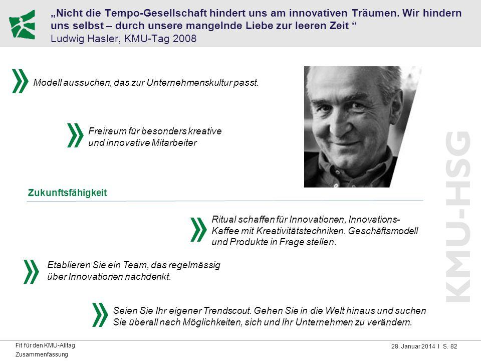 """28. Januar 2014 I S. 82 Fit für den KMU-Alltag Zusammenfassung """"Nicht die Tempo-Gesellschaft hindert uns am innovativen Träumen. Wir hindern uns selbs"""