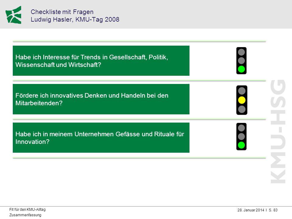 28. Januar 2014 I S. 83 Fit für den KMU-Alltag Zusammenfassung Checkliste mit Fragen Ludwig Hasler, KMU-Tag 2008 Habe ich Interesse für Trends in Gese