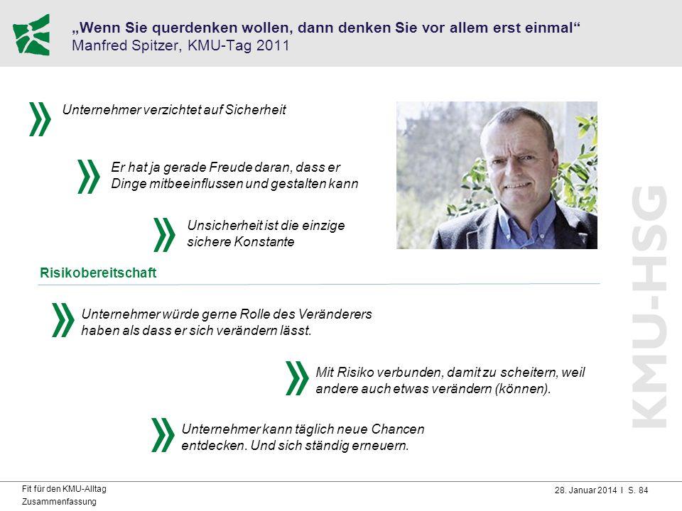"""28. Januar 2014 I S. 84 Fit für den KMU-Alltag Zusammenfassung """"Wenn Sie querdenken wollen, dann denken Sie vor allem erst einmal"""" Manfred Spitzer, KM"""