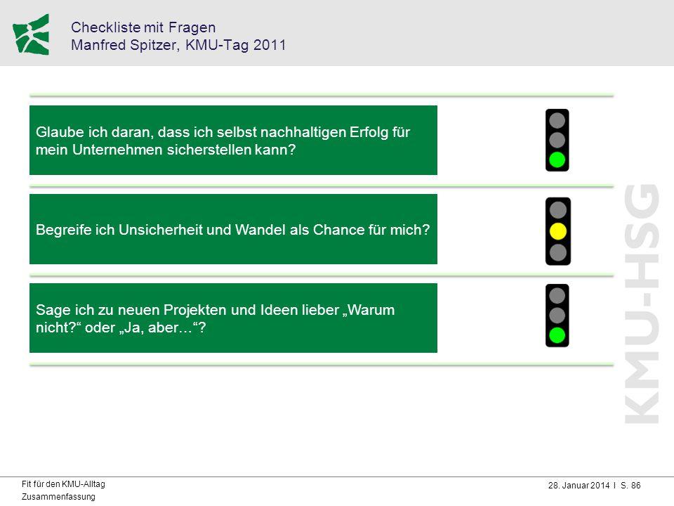 28. Januar 2014 I S. 86 Fit für den KMU-Alltag Zusammenfassung Checkliste mit Fragen Manfred Spitzer, KMU-Tag 2011 Glaube ich daran, dass ich selbst n