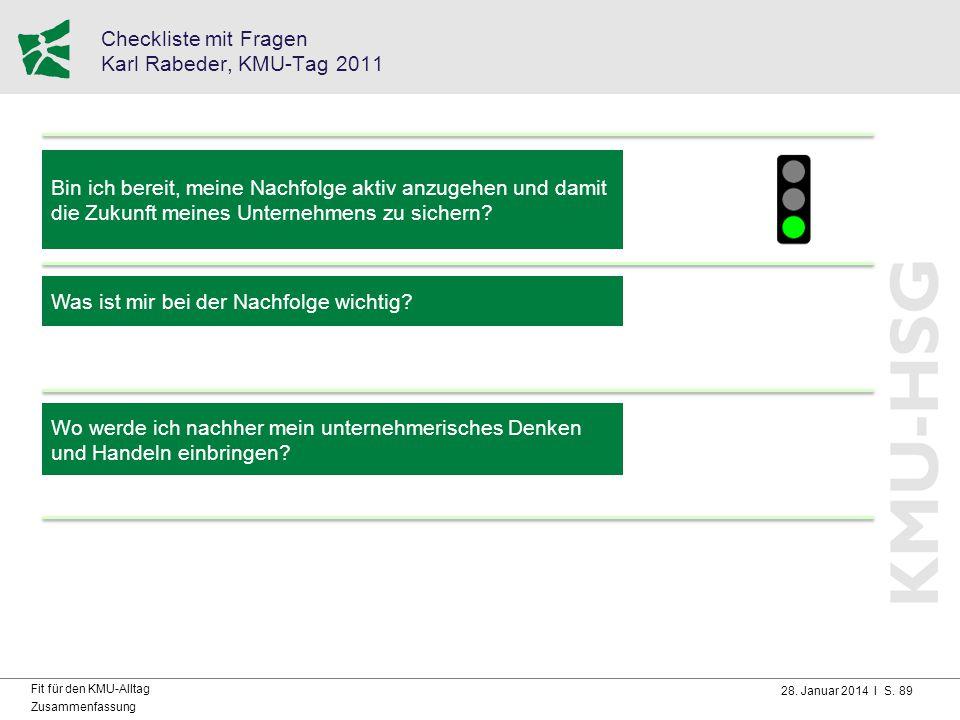 28. Januar 2014 I S. 89 Fit für den KMU-Alltag Zusammenfassung Checkliste mit Fragen Karl Rabeder, KMU-Tag 2011 Bin ich bereit, meine Nachfolge aktiv