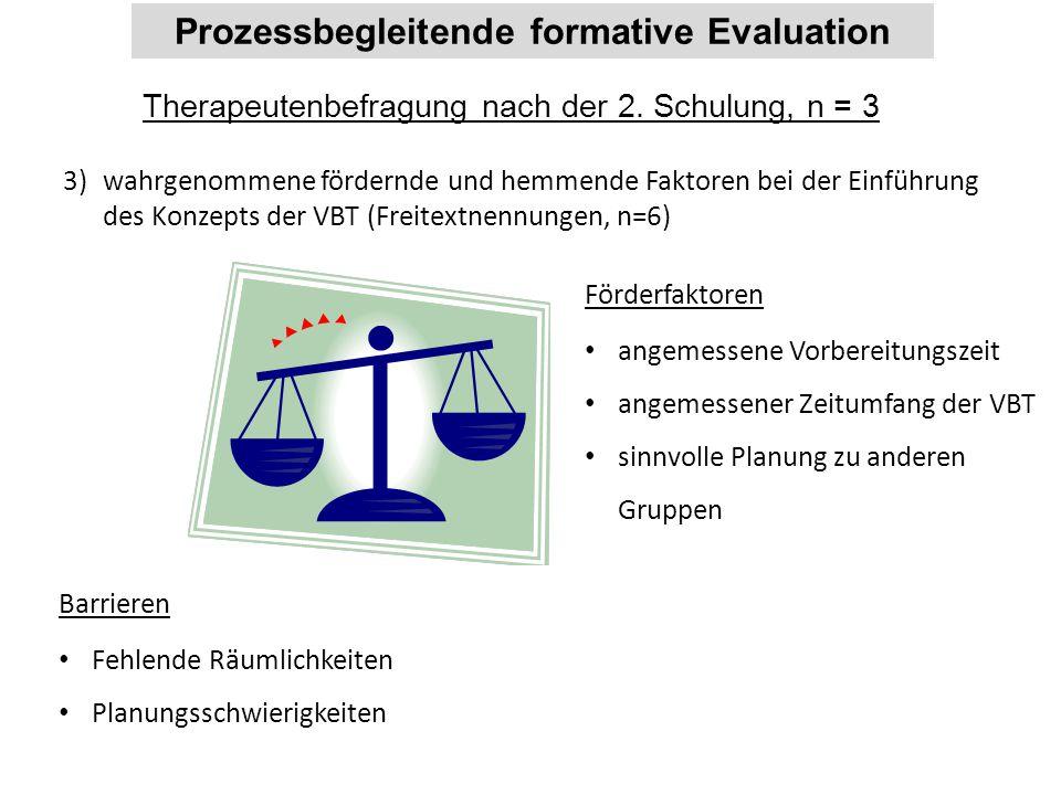 Prozessbegleitende formative Evaluation Therapeutenbefragung nach der 2. Schulung, n = 3 3)wahrgenommene fördernde und hemmende Faktoren bei der Einfü