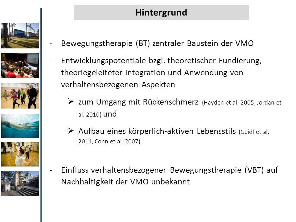 Hintergrund -Bewegungstherapie (BT) zentraler Baustein der VMO -Entwicklungspotentiale bzgl. theoretischer Fundierung, theoriegeleiteter Integration u