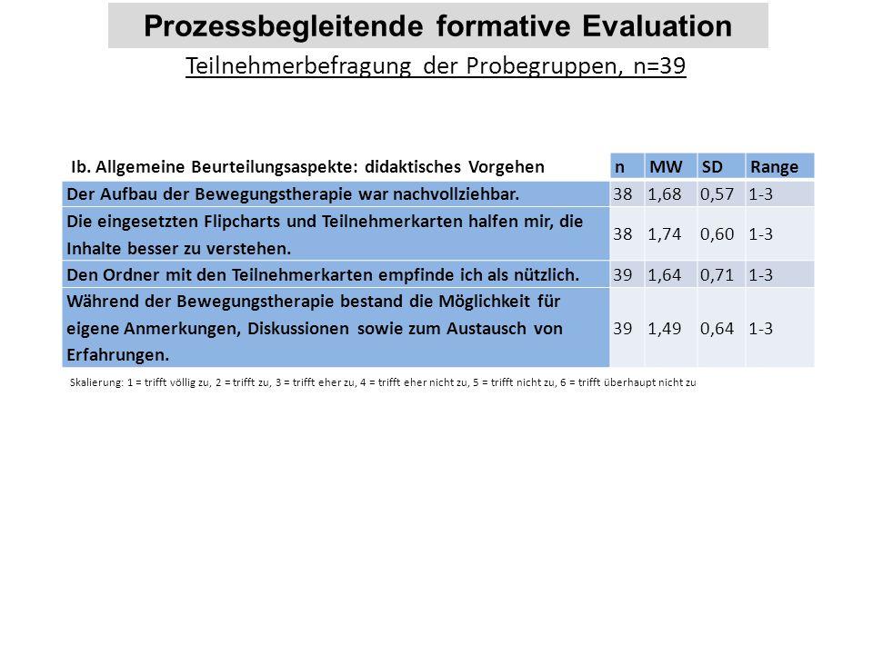 Prozessbegleitende formative Evaluation Teilnehmerbefragung der Probegruppen, n=39 Ib. Allgemeine Beurteilungsaspekte: didaktisches Vorgehen nMWSDRang