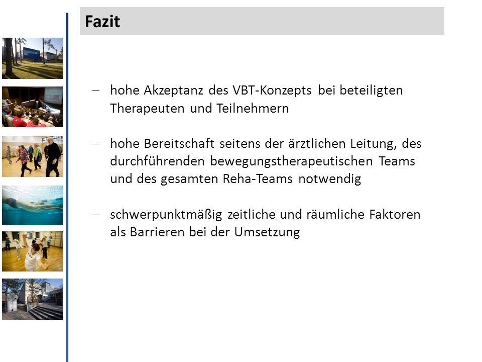  hohe Akzeptanz des VBT-Konzepts bei beteiligten Therapeuten und Teilnehmern  hohe Bereitschaft seitens der ärztlichen Leitung, des durchführenden b