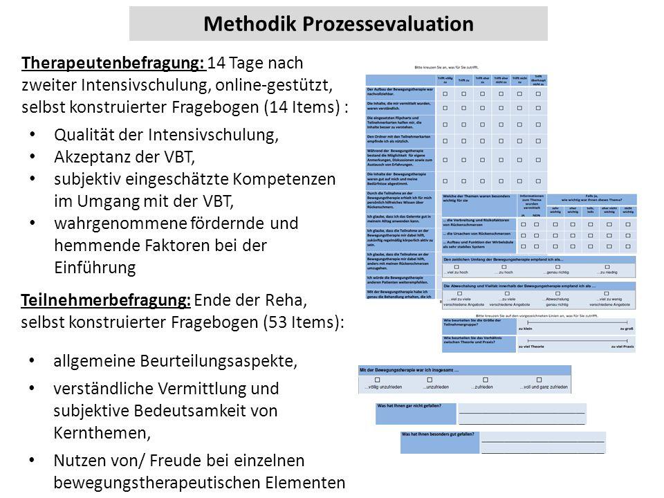 Methodik Prozessevaluation Therapeutenbefragung: 14 Tage nach zweiter Intensivschulung, online-gestützt, selbst konstruierter Fragebogen (14 Items) :