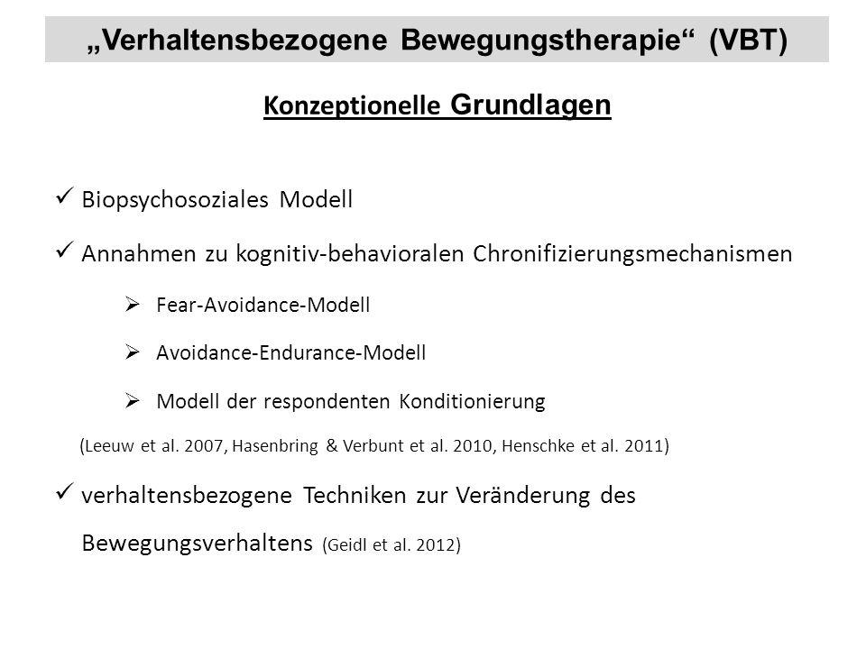 """""""Verhaltensbezogene Bewegungstherapie"""" (VBT) Biopsychosoziales Modell Annahmen zu kognitiv-behavioralen Chronifizierungsmechanismen  Fear-Avoidance-M"""