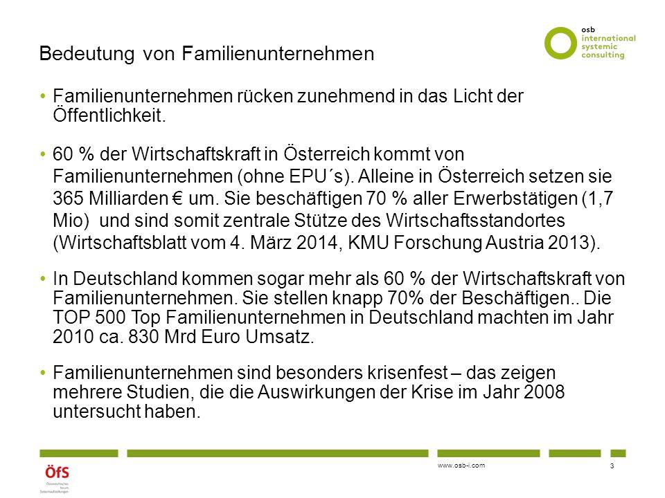 www.osb-i.com Bedeutung von Familienunternehmen Familienunternehmen rücken zunehmend in das Licht der Öffentlichkeit. 60 % der Wirtschaftskraft in Öst