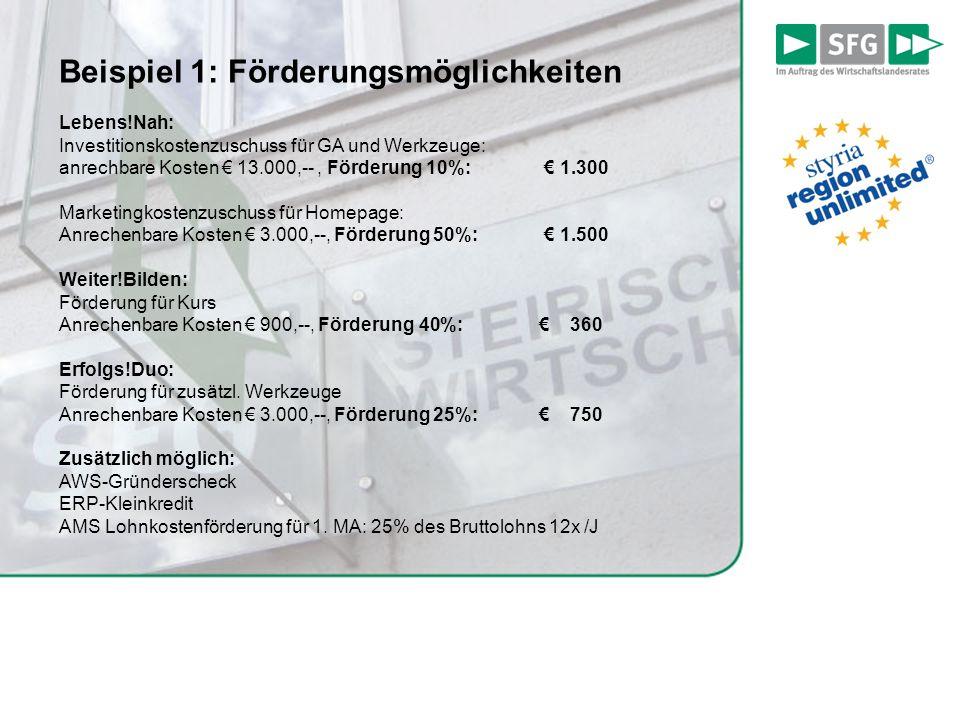 Beispiel 1: Förderungsmöglichkeiten Lebens!Nah: Investitionskostenzuschuss für GA und Werkzeuge: anrechbare Kosten € 13.000,--, Förderung 10%: € 1.300