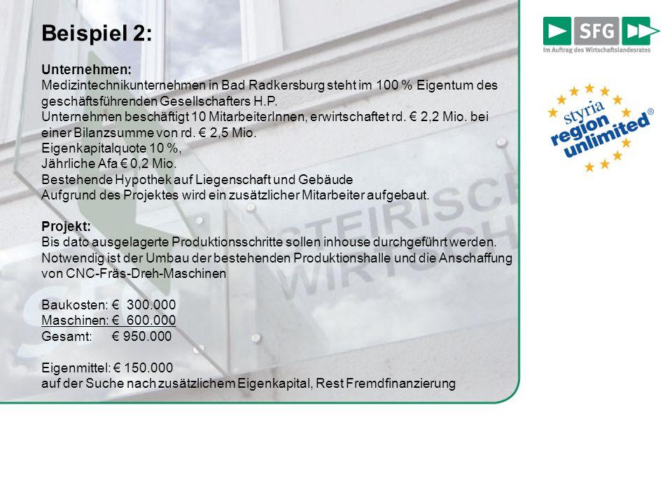 Beispiel 2: Unternehmen: Medizintechnikunternehmen in Bad Radkersburg steht im 100 % Eigentum des geschäftsführenden Gesellschafters H.P. Unternehmen