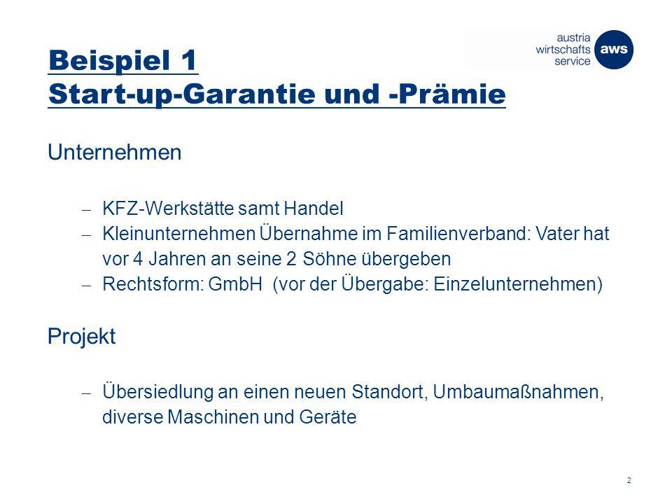 Beispiel 1 Start-up-Garantie und -Prämie 3 Investitionen (in EUR) Baukosten 200.000 Ankauf Maschinen neu 80.000 Ankauf Maschinen gebraucht 20.000 Gesamtprojekt 300.000 Finanzierung (in EUR) Eigenkapital 75.000 Kreditfinanzierung 225.000 Gesamtfinanzierung 300.000