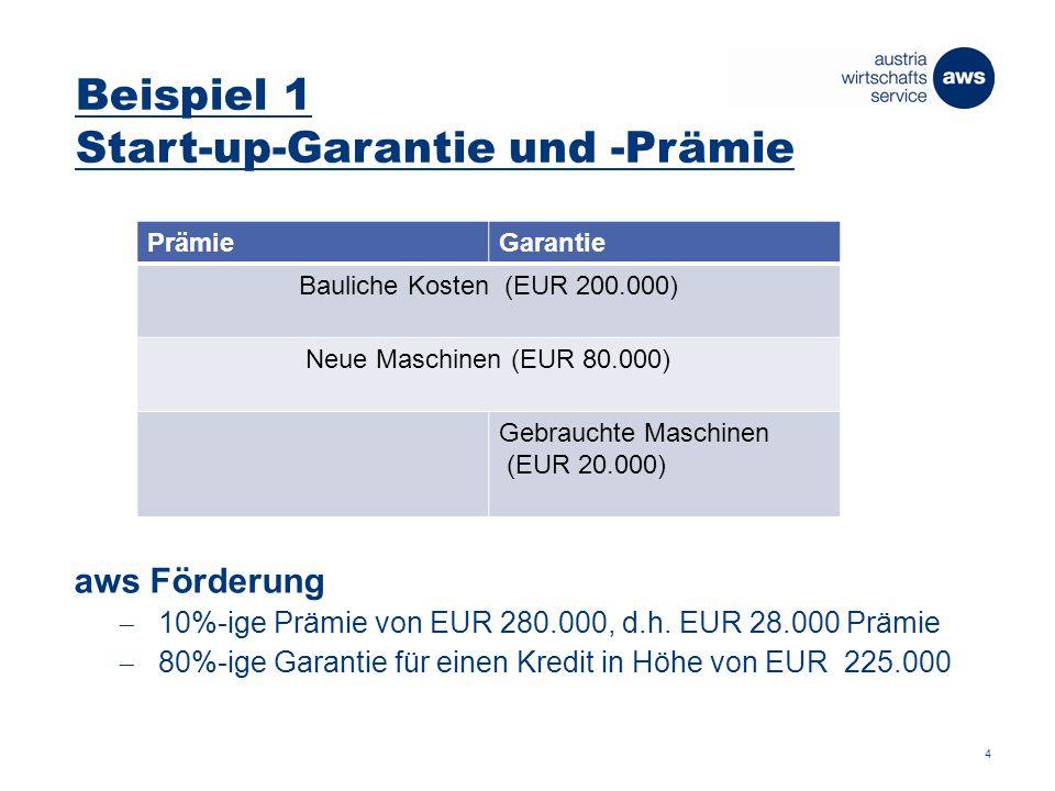 Beispiel 1 Start-up-Garantie und -Prämie 4 PrämieGarantie Bauliche Kosten (EUR 200.000) Neue Maschinen (EUR 80.000) Gebrauchte Maschinen (EUR 20.000) aws Förderung  10%-ige Prämie von EUR 280.000, d.h.