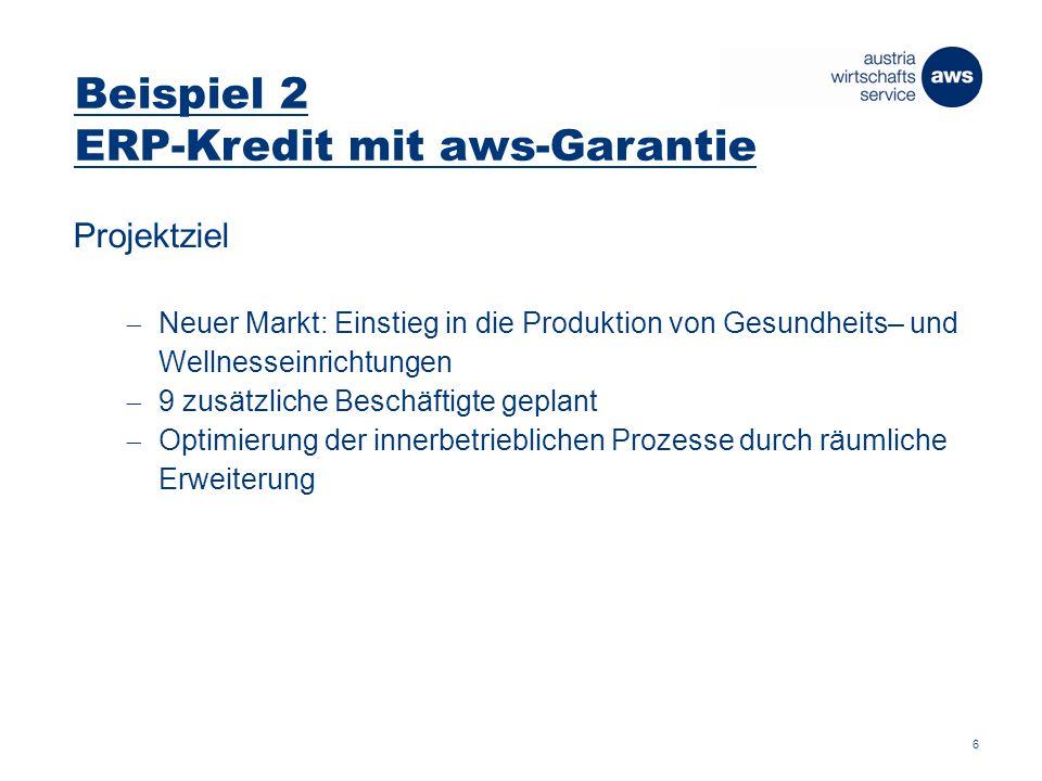 Beispiel 2 ERP-Kredit mit aws-Garantie Projektziel  Neuer Markt: Einstieg in die Produktion von Gesundheits– und Wellnesseinrichtungen  9 zusätzliche Beschäftigte geplant  Optimierung der innerbetrieblichen Prozesse durch räumliche Erweiterung 6