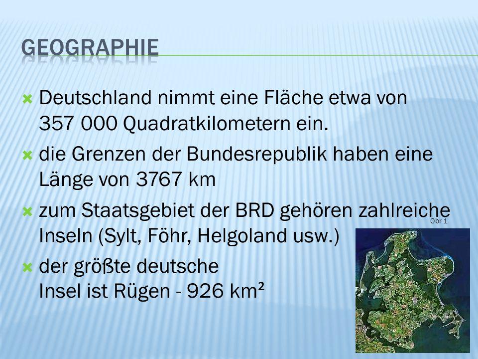 Von Norden nach Süden gliedert sich das Land in fünf verschiedene Landschaftsräume: 1)das Norddeutsche Tiefland - zahlreiche Seen, Heiden (die Lüneburger Heiden), Moore und fruchtbare Felder 2)die Mittelgebirgsschwelle – viele Gebirge mit poetischen Namen (Rothaargebirge), Thüringer Wald, Erzgebirge 3)das Südwestdeutschen Mittelgebirgsstufenland – Schwarzwald, Bayerische Wald, der Spessart 4)das Süddeutsche Alpenvorland –Donauniederung, Hügelketten, zahlreiche Moorgebiete mit Seen – wie z.